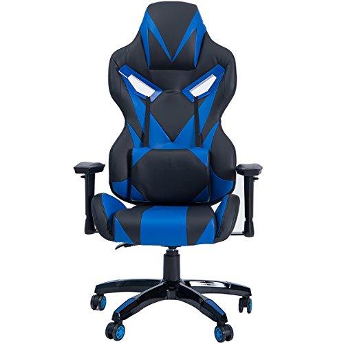 Merax Master Series Ergonomic High Back Racing Style PU Leather Gaming Chair (Blue) Binyu