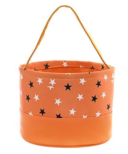 E-FirstFeeling Easter Basket Easter Bag Toy Candy Gift Basket Storage Bucket Tote (Small Stars-Orange Bottom) -