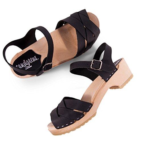 Wooden Swedish Clog Black Nubuck Sandals Leather Low Grande Heel Women Rio Sandgrens 1Sq5wHw