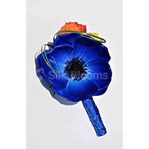 Colourful Buttonhole with Vibrant Anemones and Roses 3