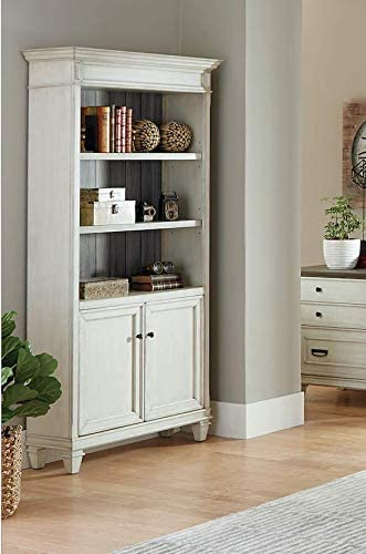 Martin Furniture Bookcase with Lower Doors, White