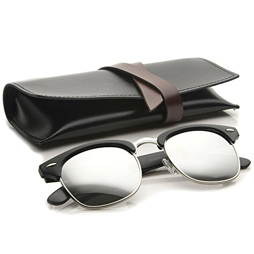 zeroUV - Premium Half Frame Horn Rimmed Sunglasses with Metal Rivets (Matte Black-Silver / - Optics Clubmaster