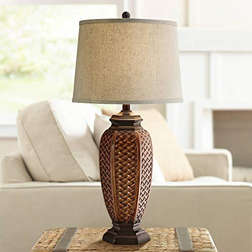 (Tropical Table Lamp Woven Wicker Pattern Beige Linen Drum Shade for Living Room Family Bedroom Bedside Nightstand - Regency)
