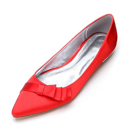 Mediados Corte Zapatos Seda Pie Encargo Las Cerraron Boda partido Eleoulck Del Red La De Mujeres Dedo Bombas Bd8qBw6Ox