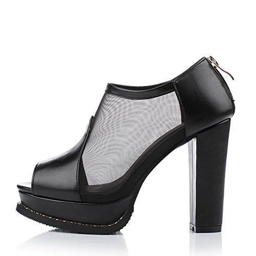 Sandals High Peep AllhqFashion Black Solid Zipper Toe Heels PU Women's OO8wqY