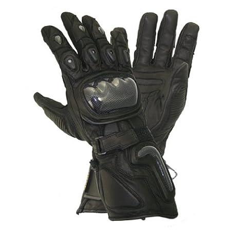 Xelement XG441 Mens Black Carbon Leather/Textile Motorcycle Gloves - X-Large - Textile Motorcycle Gloves
