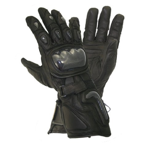 Xelement XG441 Mens Black Carbon Leather/Textile Motorcycle Gloves - Large (Gloves Leather Motorcycle Naked)
