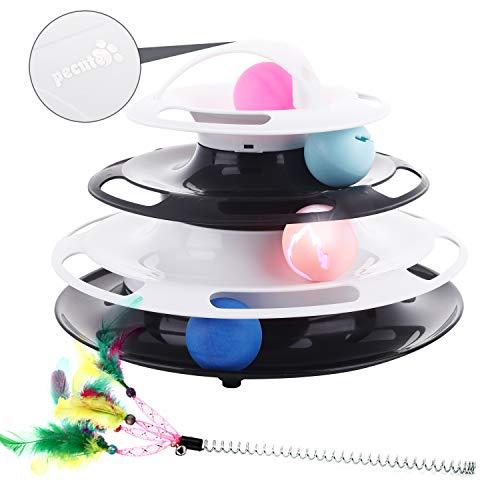 Pecute Katzenspielzeug Katze Bälle Trackball mit 360°raumdrehendem Bahn SpielzeugBälle Cool leuchtender GlockenBälle…