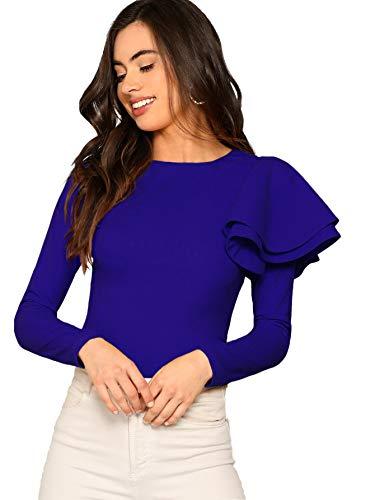 Floerns Women's Zip Back Round Neck Ruffle One Sleeve Sleeve Top Blue L (Sleeve Ruffled Top)