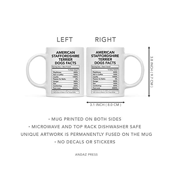 Andaz Press Funny Dog Lover's 11oz. Ceramic Coffee Mug Gift, American Staffordshire Terrier Nutritional Facts, 1-Pack, Dog Mom Dad Birthday Christmas Ideas 5