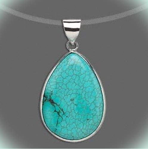 Turquoise Blue Magnesite Gemstone 36x27mm Cabochon Teardrop Pendant