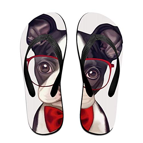 JEFFERYjSPARKS Baby Boston Terrier with Red Glasses Men's and Women's Unisex Beach Summer Casual Flip Flop Sandals L]()