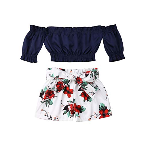 Toddler Little Girl Floral Outfits Ruffled Off Shoulder Tube Crop Tops+Shorts Pant with Bowknot Belt Summer Clothes Set Blue -