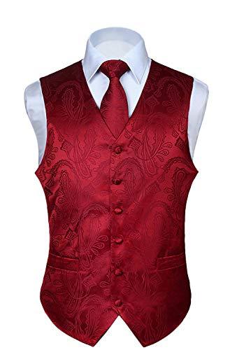 HISDERN Men's Paisley Floral Jacquard Waistcoat & Neck Tie and Pocket Square Vest Suit Set Burgundy (Coat Dress Jacquard)