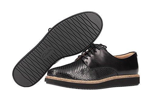 4 26120449 Lisa Negro de Piel Clarks con Cordones Zapatos Mujer B05qd1dw