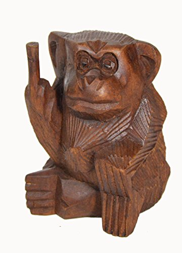 6 Inch Rude Monkey Flipping The Bird Middle Finger Wooden Statue WorldBazzar Brand Rude Signs
