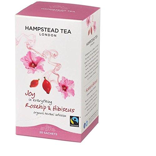 HAMPSTEAD TEA Rosehip Hibiscus Tea Sachets 20 Bag, 0.02 Pound