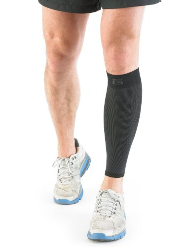 NEO G Airflow Calf/Shin Support - SMALL - Black - Medical Grade Quality sleeve, Multi Zone Compression, lightweight, breathable, HELPS strains, sprains, injured, weak calves/shins - Unisex Brace by Neo-G (Image #1)