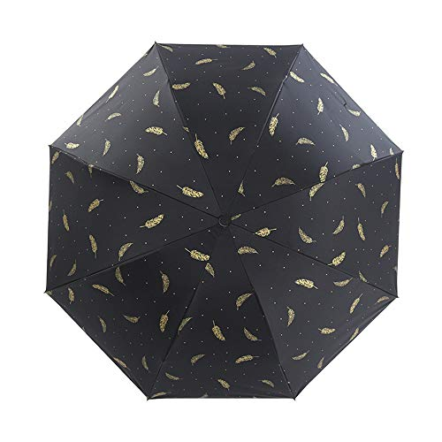CHUANG TIANG Bronzed Feather Black Plastic Umbrella, Small Fresh Umbrella Folding Sunscreen Black Plastic Tri-Fold Umbrella 22Inch,Black