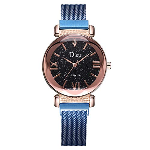 (LUCAMORE Luxury Women's Diamond Shining Bling Starry Sky Magnetic Buckle Bracelet/Lederband Watches)