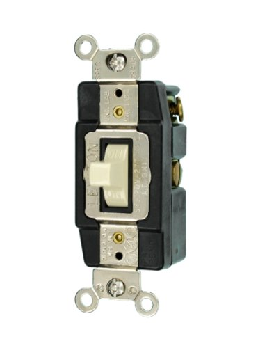 Leviton 1256-I 15-Amp 120/277-Volt Single-Pole Toggle AC Quiet Switch, Ivory