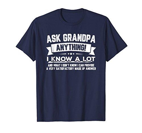 Mens Ask Grandpa Anything Funny Father's Day T-Shirt Gift 60th Medium Navy (Grandpa T-shirt)