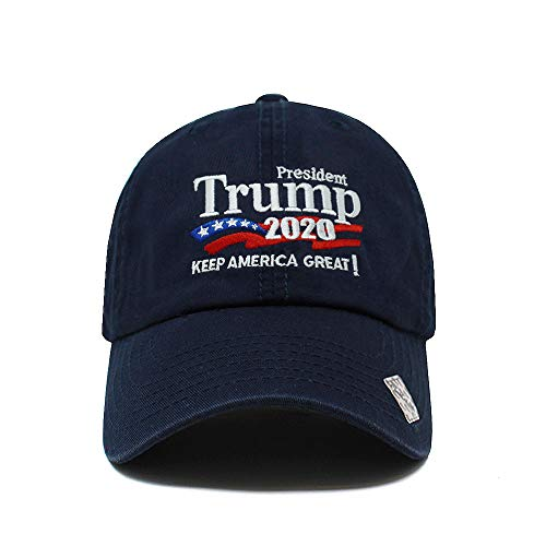Trump 2020 Keep America Great Campaign Embroidered USA Hat | Baseball Bucket Trucker Cap (Cotton Navy)