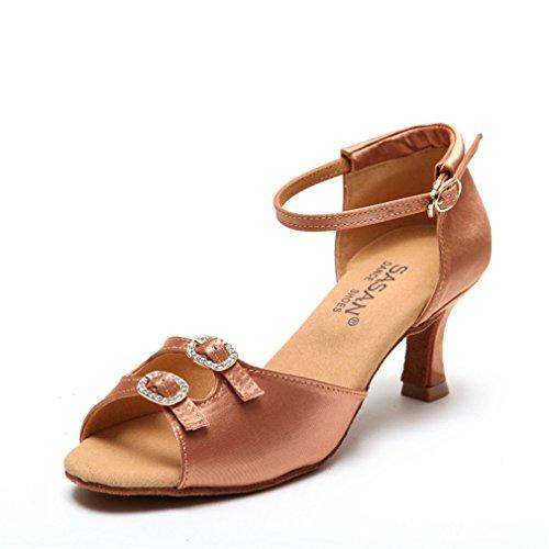 BYLE Sandalias de Cuero Tobillo Modern Jazz Samba Zapatos de Baile Zapatos de Baile Latino de la Mujer Latina de Tacón Alto Zapatos de Baile Latino DE 39 Adultos