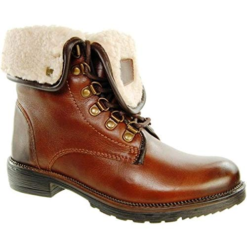 Leather Low Brown Women's Boot Ankle Chestnut Heel Chestnut Adesso Lace Brown Up qft4WRIWn