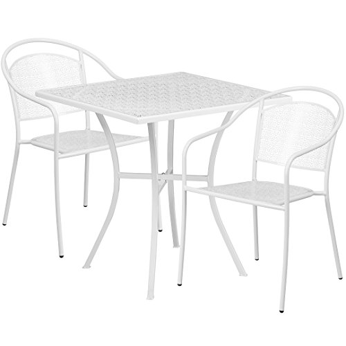 MFO 28'' Square White Indoor-Outdoor Steel Patio Table Set with 2 Round Back Chairs