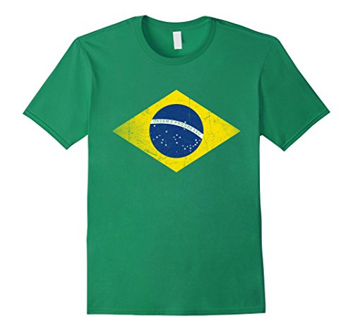 Mens Brazil Retro Flag Tee Distressed Design Brazilian T-Shirt Medium Kelly Green