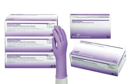 Kimberly Clark Safety 55083 Nitrile Gloves, Powder Free, Large, Purple (Pack of 100) (Kimberly Clark Gloves Nitrile)
