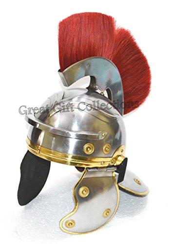Roman Centurion Head EAGLE Shape Armour Helmet W/Red Crest Plume Costume-Replica