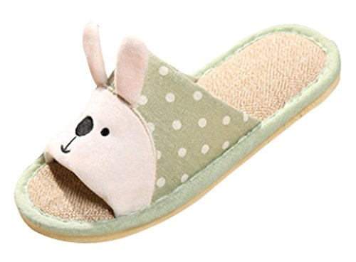 Cattior Womens Cute Bunny Slippers House Slippers Open Toe Green VpxSB