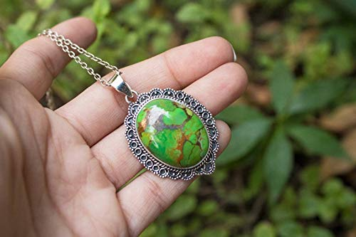 Sterling Silver Large Green Copper Turquoise Pendant Beautiful Veining /& Colors