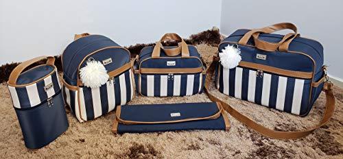 Kit de Bolsas Maternidade com Mochila Listrada Térmico Impermeável Cor: Azul Marinho