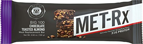 MET-Rx Big 100 Colossal Protein Bars, Great as Healthy Meal Replacement, Snack, and Help Support Energy, Gluten Free, Chocolate Toasted Almond, 100 g, 9 Count
