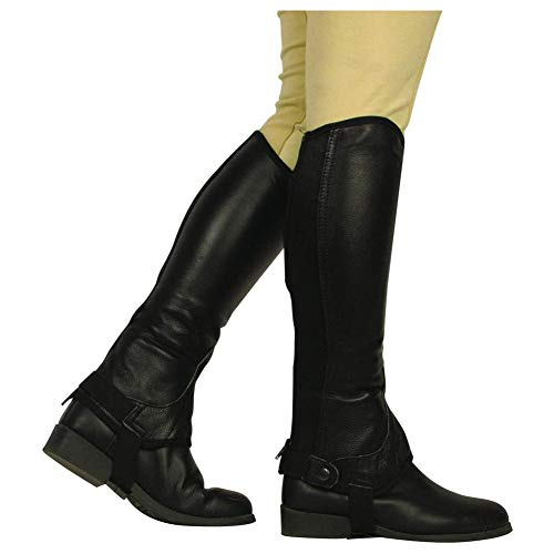 - Saxon Equileather Adult Half Chaps XS Black