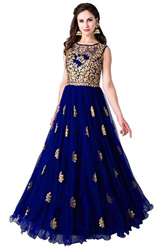 41KiLqjtCZL Varudi Fashion Multi Color Heavy Soft Net Fabric Embroidery Work Round Neck Sleevesless Long Semi Sticthed Gown For…