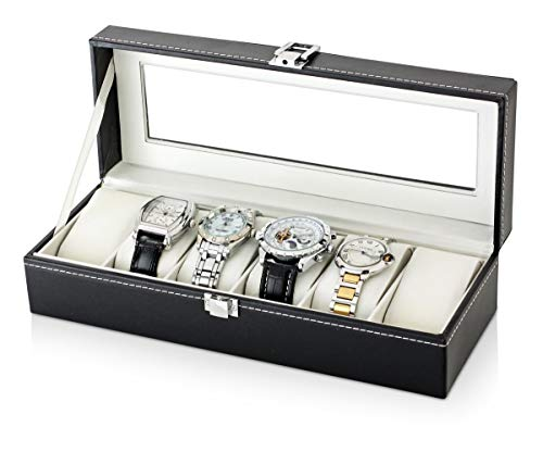 6 Watch Organizer for Men - 6 Slots with Glass Top and Velvet Pillows (Black)