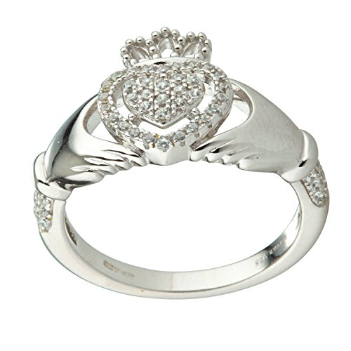 [S21017] Claddagh Ring Sterling Silver & Crystal (7)