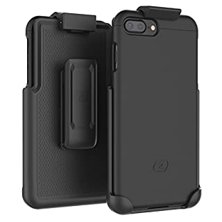 """Encased iPhone 7 Plus Belt Case - (SlimShield Series) Secure-fit Holster Clip & Tough Cover Combo for iPhone 7 Plus 5.5"""" (Smooth Black)"""