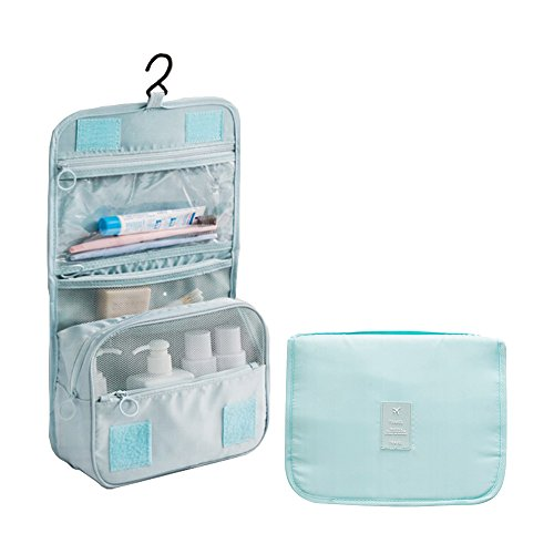 (Travel Cosmetic Bags for Toiletries Beauty Toiletry Bag for Women Men Makeup Organizer with Compartments for Cosmetics Traveling Shower Bags for Girls Hanging Make Up Bag Case (02 Blue))