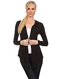 2LUV Plus Women's Hooded Long Sleeve Open Front Cardigan