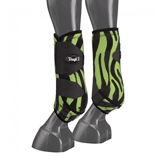 Tough 1 Green Zebra Extreme Vented Neoprene Large Front Sport Boots Horse Tack by Tough 1
