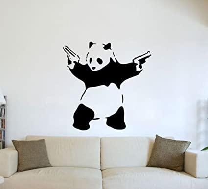 Amazon.com: (Large) Banksy Graffiti Panda Guns Wall Art Vinyl Decal ...