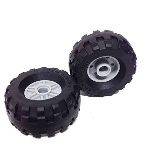 Lego Parts: City Construction Wheels Tire and Rim Bundle (2) Black 37 x 18R Tires (2) Light Bluish Gray 18mm D. x 14mm Rims with (Pin Hole, Fake Bolts and Shallow Spokes)