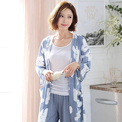 Túnica Traje color large Y Largo Azul Azul Primavera Para Siete Fino Corte Pijama Xx Manga Informal De Xxl Mujer Lindou Otoño Puntos Talla qOafZFx