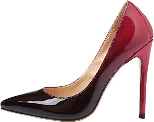 Calaier Donna 15 Colori Us Taglia 4-15 Stiletto 12cm Tacco Alto Abito Da Sposa Partito Pompe Da Ufficio Rosso Gradiente