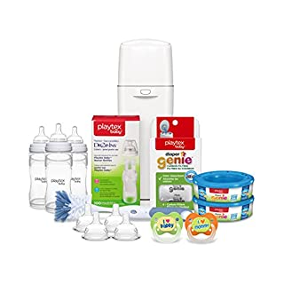 Playtex Baby Diaper Genie 5-Piece Set, Includes Diaper Genie Pail with Built-In Antimicrobial and Accessories and Playtex Baby Feeding Supplies
